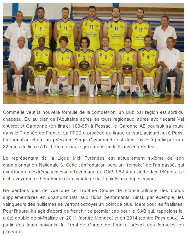 Non class tirage 32 me coupe de france garonne asptt basket - Tirage 32 coupe de france ...